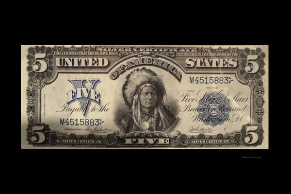 Wall Art - Photograph - Five Dollar Us Currency Silver Certificate Indian Bill by Thomas Woolworth