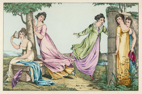 Garden Wall Drawing - Five Elegant Ladies Playing Hide by Mary Evans Picture Library