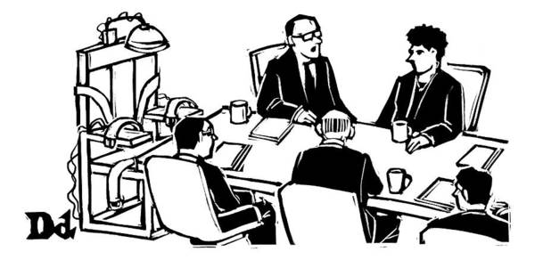 Hiring Drawing - Five Executives Sit Around A Conference Table by Drew Dernavich