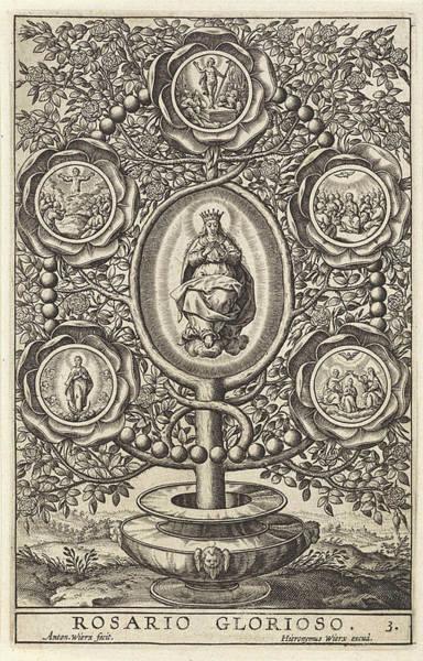 Holy Ghost Drawing - Five Glorious Mysteries, Antonie Wierix II by Antonie Wierix (ii) And Hieronymus Wierix