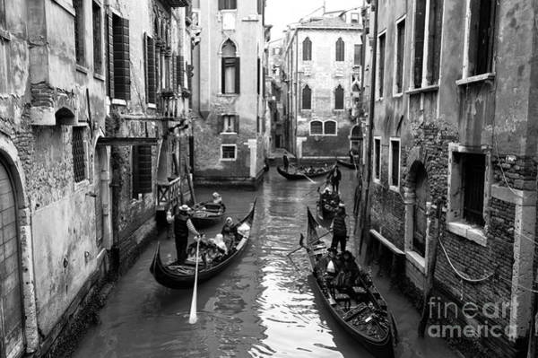 Photograph - Five Gondolas On The Canal by John Rizzuto