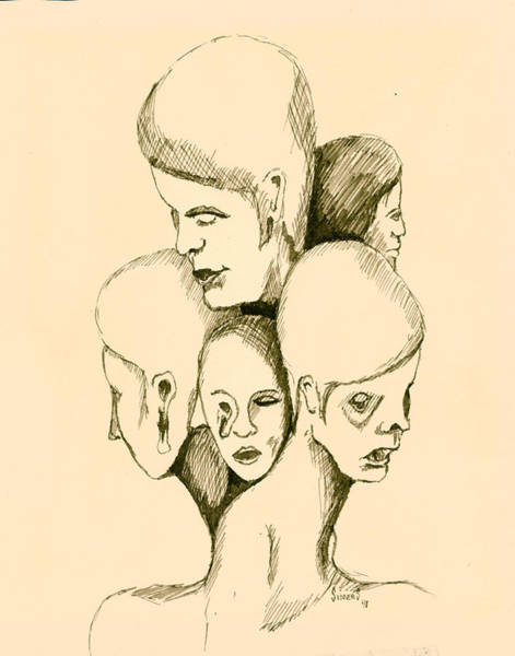Face Drawing - Five Headed Figure by Sam Sidders