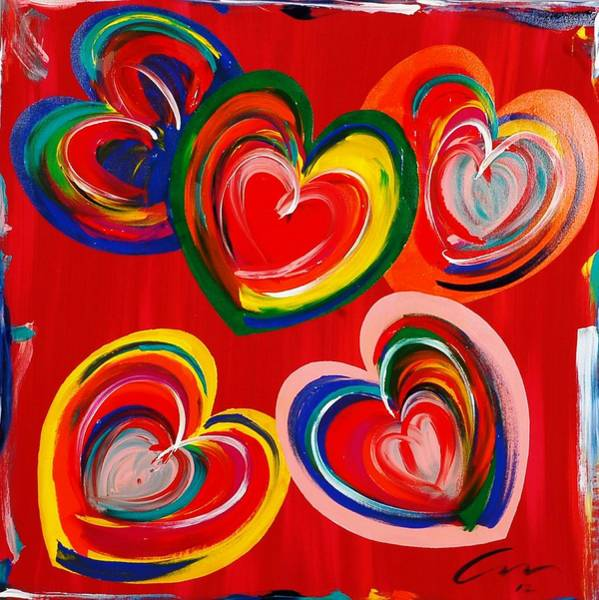 Interior Wall Art - Painting - Five Hearts by Mac Worthington