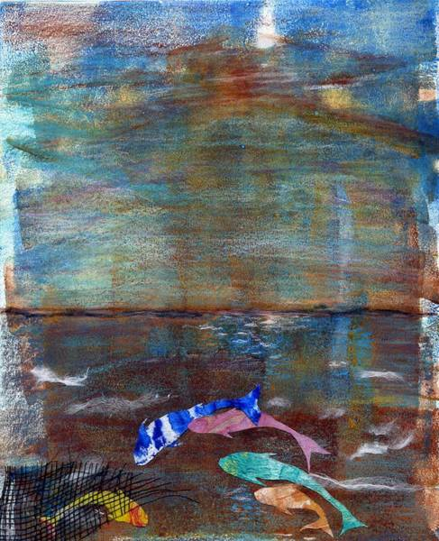Monotype Mixed Media - Five Koi by Theresa Khong