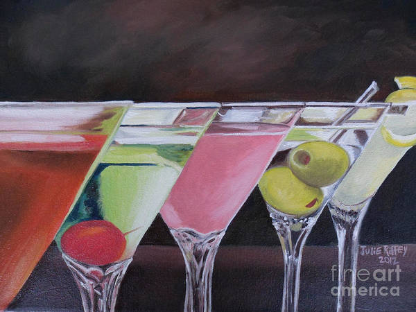 Martini Glasses Painting - Five O'clock by Julie Brugh Riffey