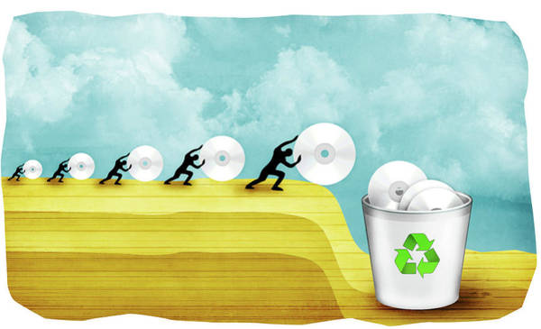 Wall Art - Photograph - Five People Throwing Cd To Garbage Bin by Fanatic Studio / Science Photo Library