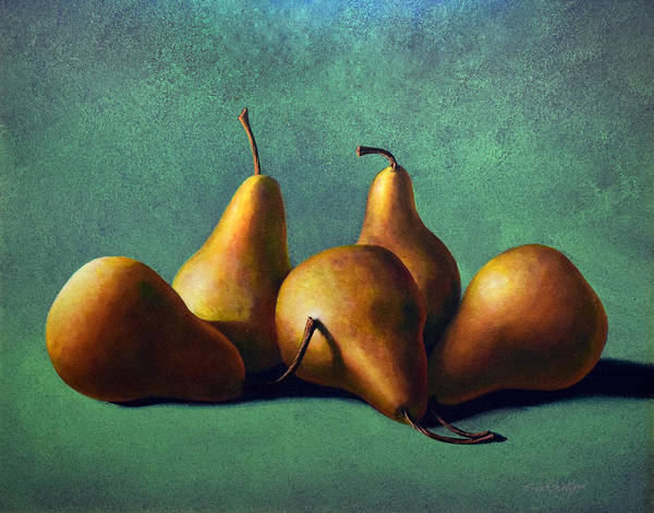 Wall Art - Painting - Five Ripe Pears by Frank Wilson