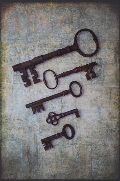 Five Photograph - Five Rusty Keys by Garry Gay