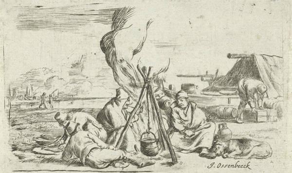 Duty Drawing - Five Soldiers Around A Campfire, Jan Van Ossenbeeck by Jan Van Ossenbeeck