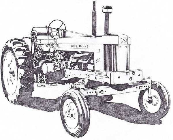 Old Tractor Drawing - Five Two Ohhh by David Fuller