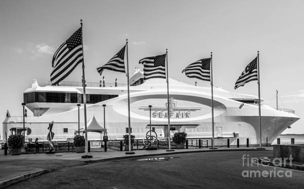 Flying The Flag Wall Art - Photograph - Five Us Flags Flying Proudly In Front Of The Megayacht Seafair - Miami - Florida - Black And White by Ian Monk