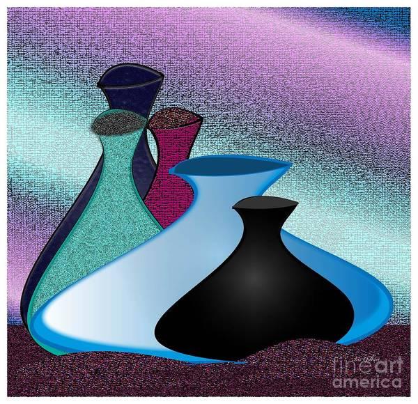 Jug Digital Art - Five Vases by Iris Gelbart