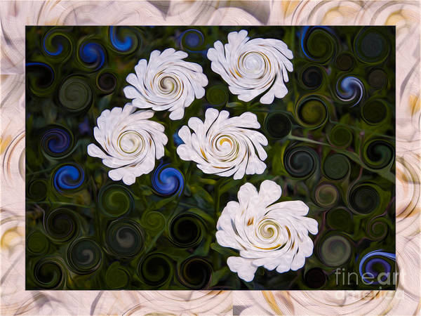 Painting - Five White Flowers In An Abstract Garden by Omaste Witkowski