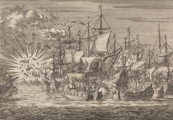 Wall Art - Drawing - Five Zeeland Privateers Fight Against Eight Portuguese by Jan Luyken And Pieter Van Der Aa I