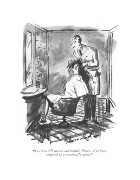 Hairdo Drawing - Fix It So It'll Stream by Barbara Shermund