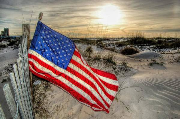 Digital Art - Flag In Fence On The Beach by Michael Thomas