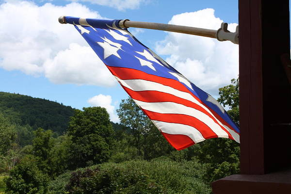 Pyrography - Flag In Vermont by Pat Moore