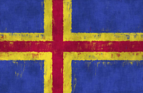 Wall Art - Digital Art - Flag Of Aland Islands by World Art Prints And Designs
