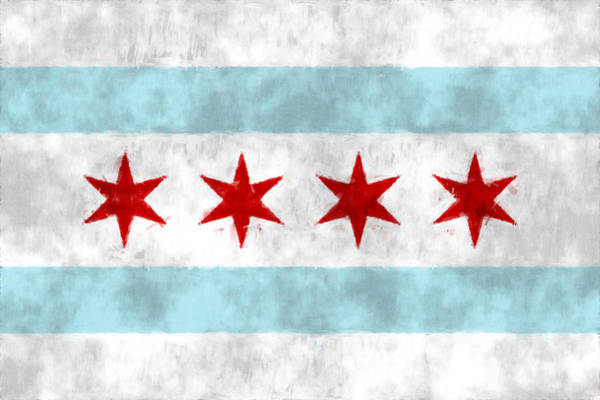 The American Flag Wall Art - Digital Art - Flag Of Chicago by World Art Prints And Designs