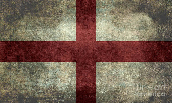 Wall Art - Digital Art - Flag Of England St Georges Cross Vintage Version To Scale by Bruce Stanfield