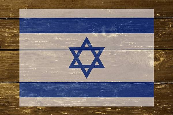 Wall Art - Digital Art - Israel National Flag On Wood by Movie Poster Prints