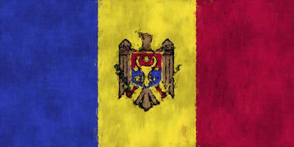 Moldova Wall Art - Digital Art - Flag Of Moldavia by World Art Prints And Designs