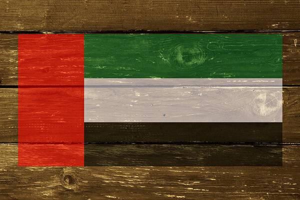 Digital Art - United Arab Emirates Flag On Wood by Movie Poster Prints