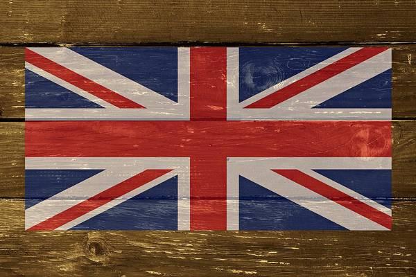 Wall Art - Digital Art - United Kingdom Flag On Wood by Movie Poster Prints