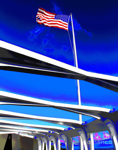 Photograph - Flag Over Uss Arizon by Larry Oskin