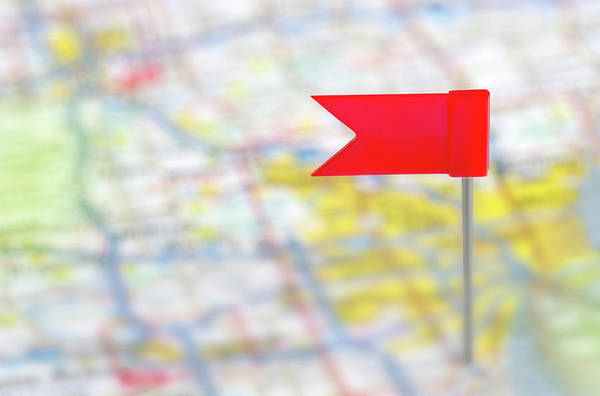 Straight Photograph - Flag Pin In A Map by Rob Atkins