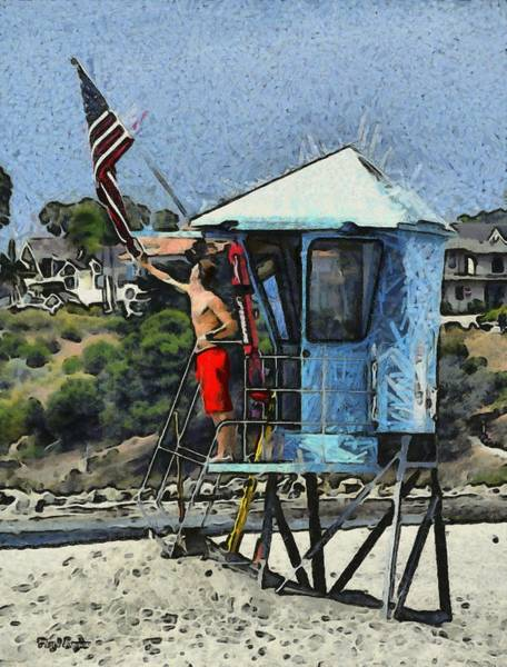 Photograph - Flag Waving Lifeguard Abstract by Floyd Snyder