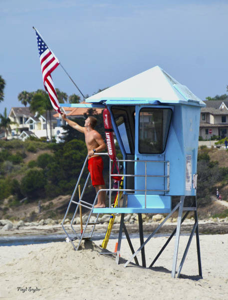 Photograph - Flag Waving Lifeguard by Floyd Snyder