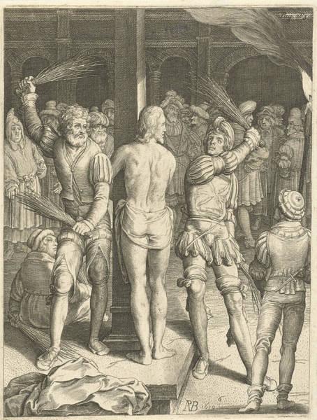 Pontius Pilate Wall Art - Drawing - Flagellation Of Christ, Nicolaes De Bruyn by Nicolaes De Bruyn
