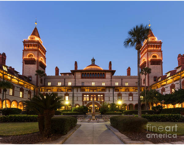 Flagler Photograph - Flagler College Formerly The Ponce De Leon Hotel At Twilight St. Augustine Florida by Dawna Moore Photography