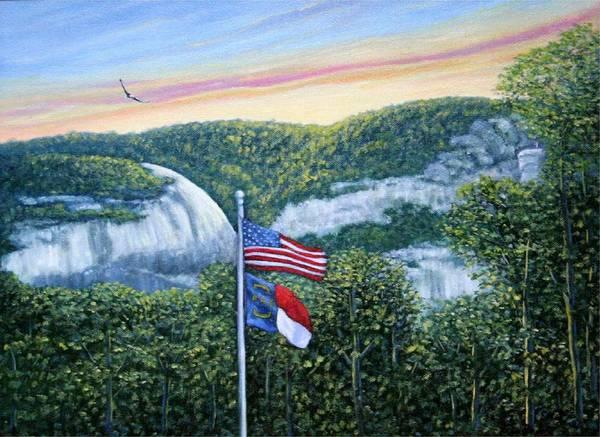 Flags At Sunset Art Print