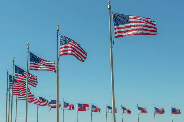 Wall Art - Photograph - Flags By Washington Monument by Jim Engelbrecht