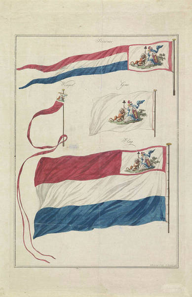 Wall Art - Drawing - Flags Of The Navy Of The Batavian Republic by Hendrik Roosing