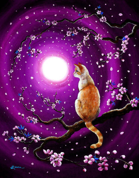 Wall Art - Painting - Flame Point Siamese Cat In Dancing Cherry Blossoms by Laura Iverson