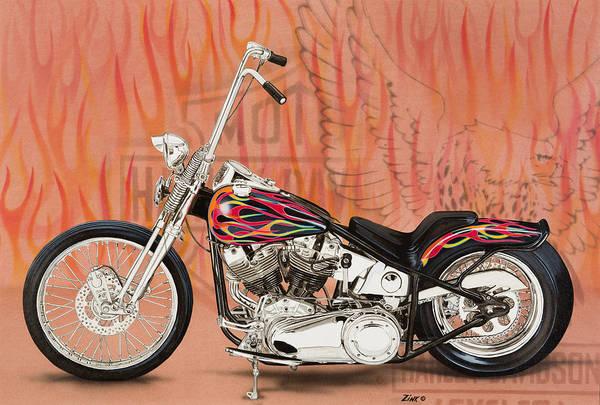 Pan Head Painting - Harley Davidson Flamed Chopper by Mark Zelenkovich
