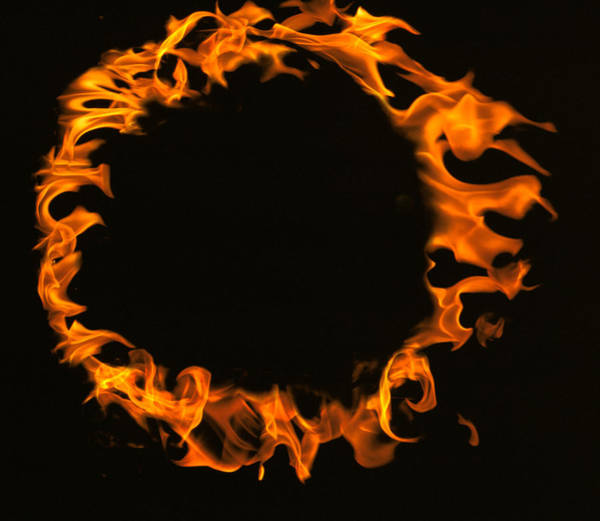 Fire Ring Photograph - Flamed Circle On Black Background by Panoramic Images