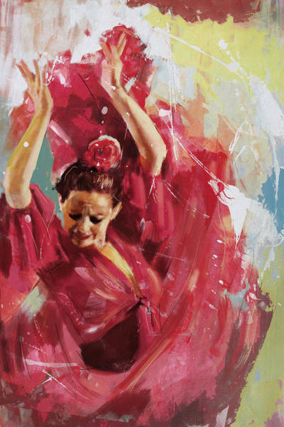 Posture Painting - Flamenco 34 by Maryam Mughal
