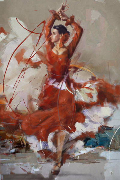 Dance Painting - Flamenco 37 by Maryam Mughal