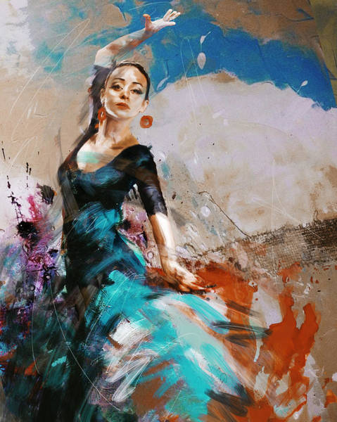 Dance Painting - Flamenco 42 by Maryam Mughal
