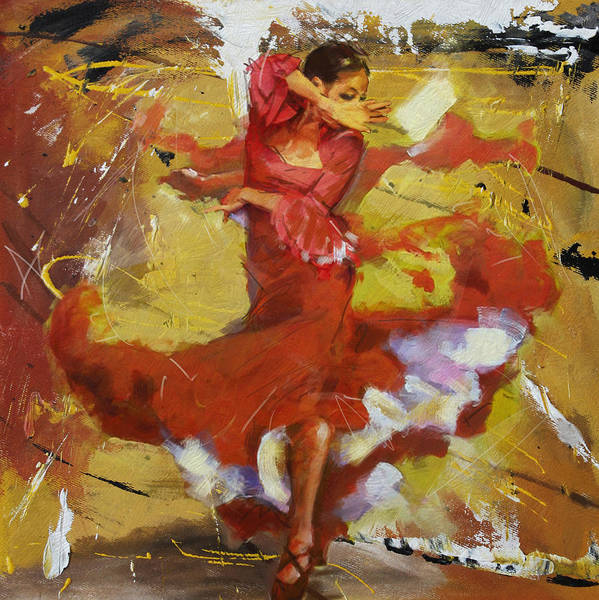 Dance Painting - Flamenco 44 by Maryam Mughal