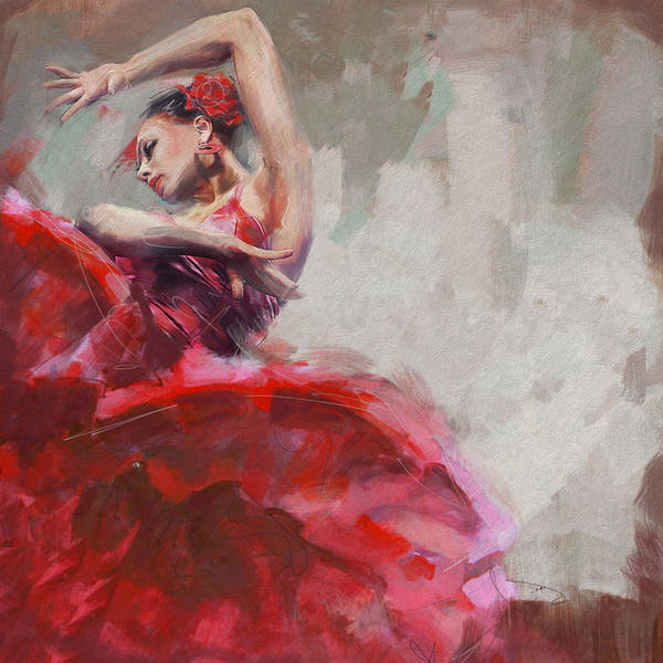Posture Painting - Flamenco 53 by Maryam Mughal