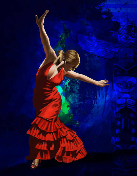 Spanish Restaurant Painting - Flamenco Dancer 014 by Catf