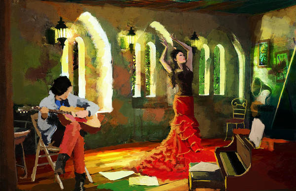Spanish Restaurant Painting - Flamenco Dancer 017 by Catf