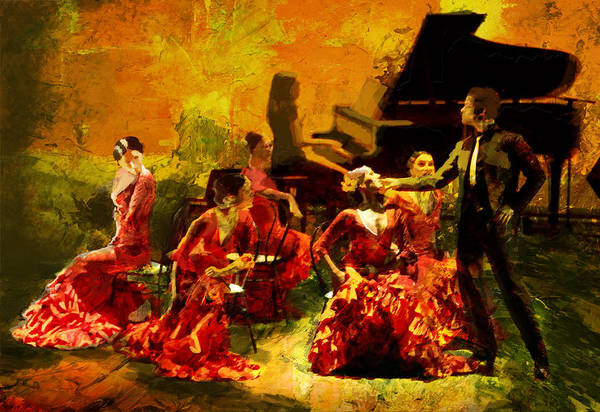 Spanish Restaurant Painting - Flamenco Dancer 020 by Catf