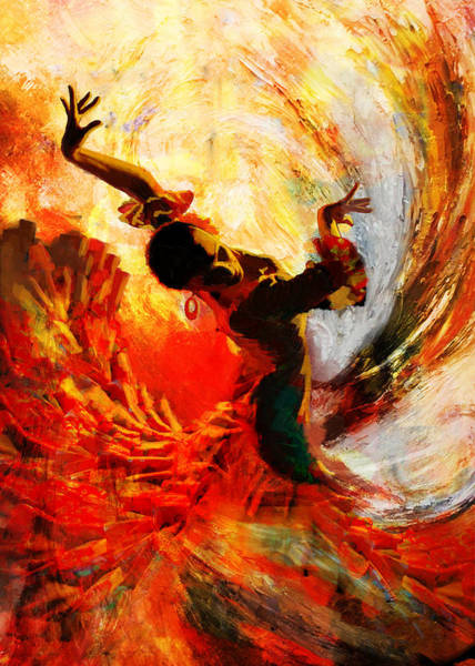 Fire Dance Wall Art - Painting - Flamenco Dancer 021 by Mahnoor Shah