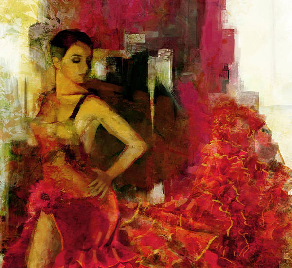 Spanish Restaurant Painting - Flamenco Dancer 024 by Catf